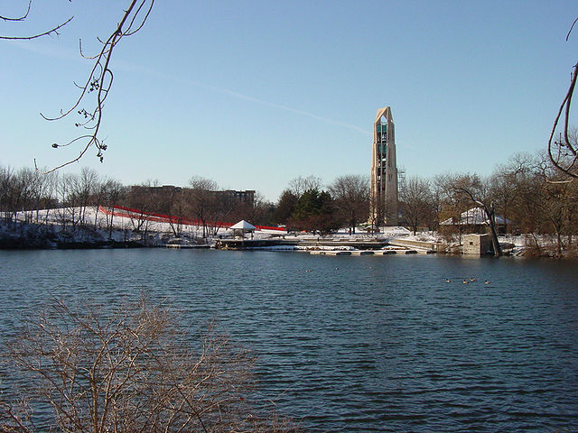 Moser Tower stands high in the Riverwalk Quarry in Naperville, IL.
